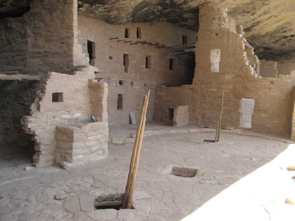 Ladder leading down to a kiva