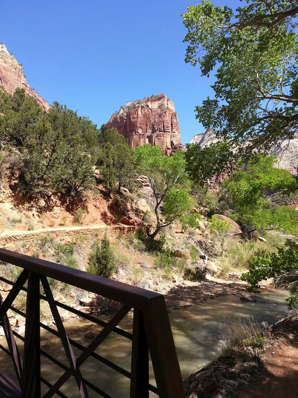 Crossing the bridge from the Grotto - Angel's Landing in the distance