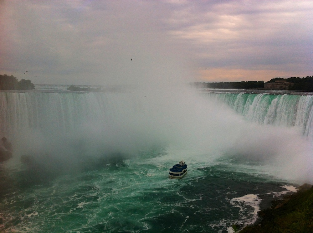 A Maid of the Mist boat approaching Bridal Veil