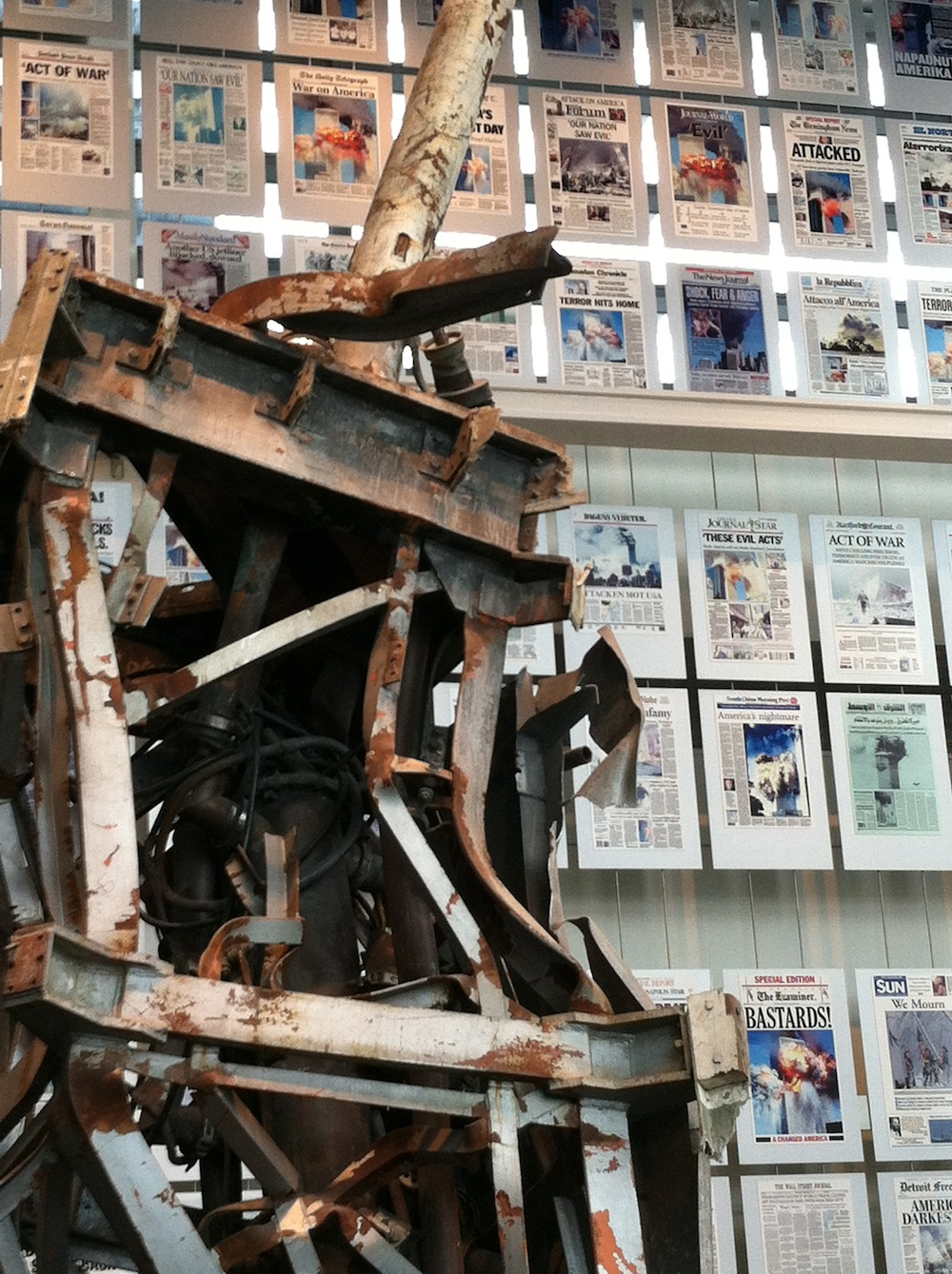 Demolished, charred, twisted piece of the radio tower from World Trade Center