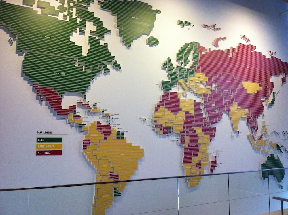 This map shows the absence, in red, of freedom of the press across the world.  Ouch.