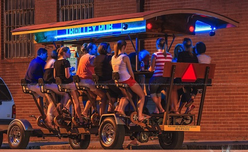 Raleigh Trolley Pub, so everyone can drink WHILE going from one bar to the next.